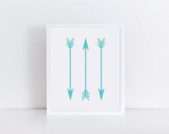 ARROW Print, Printable Art, Blue Arrow Art, Arrow Wall Art, Modern Wall Art, Minimalist Home Decor, Arrows Artwork, Blue Arrow Drawing