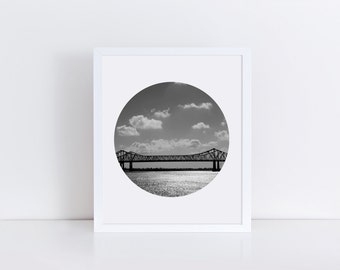 BRIDGE Photography, Bridge Art, Black and White Art Print, Bridge Print, Landscape Photograph, Ocean Art, Ocean Print, Home Decor