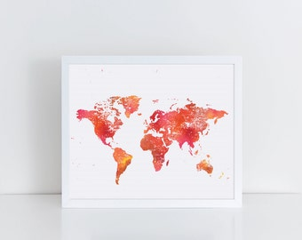 Colorful World Map Print, Pink Coral and Orange World Map Art, Printable Art, Instant Art, Colorful Art, Watercolor Print, Affordable Art