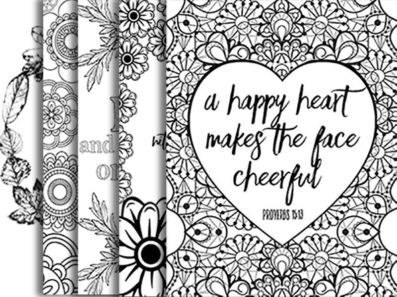 5 Bible Verse Coloring Pages Set 2 Floral DIY Adult