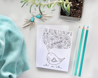 Color Me Songbird Greeting Card, Folded Coloring Card, Greeting Card, Color in, Hand Drawn, Illustration