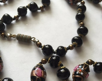 Vintage Art Deco Black Venetian Murano Art Glass Bead Necklace Italy