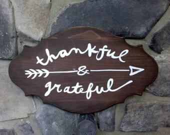 Thankful & Grateful Wood Sign
