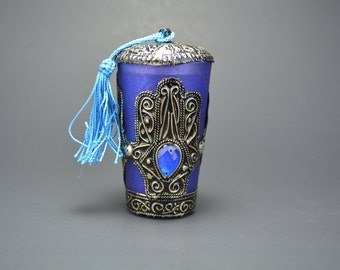 Moroccan Candle Cup, Glass and Embossed Metal Candle cup, Bohemian Decor, Home Decor, Blue Perfumed Candle, Moroccan Candle,Hamsa Tassel Cup