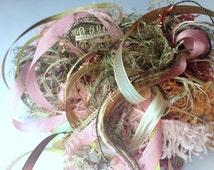 20 metres of ENCHANTED GARDEN Textile Fiber Art Embellishment Yarn and Specialty Ribbon Bundle, mixed novelty yarn pack