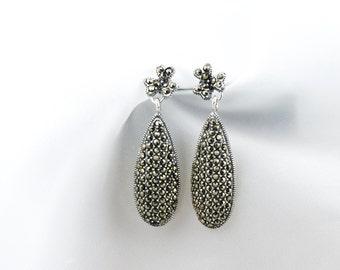 Marcasite Dangle Teardrop Earrings in Sterling Silver, Elegant Vintage Style Jewelry