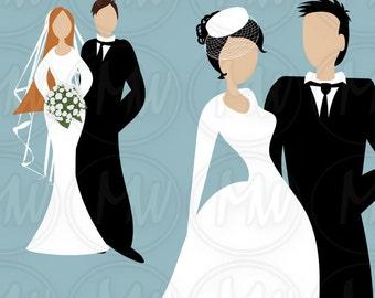 Wedding, Clipart, Color, Bride, Groom, Clip Art, Mix & Match, Head, Body, Cards, Crafts, Scrapbooks, Instant Download, Digital Stamp, #097