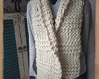 Chunky  Scarf, Super Soft- Pearl