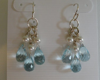 Blue Topaz with Pearls Earrings  -   #295