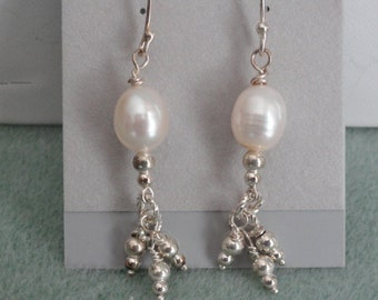 Pearl and Silver Earrings  -  #370