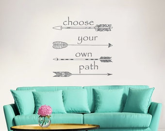 Wall Decal Quote Arrow Vinyl Sticker Decals Quotes Choose your own Path Arrows Wall Decal Quote Wall Decor Bohemian Decal Boho Sticker ZX143