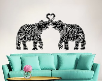 Elephant wall decal stickers elephant yoga wall decals indie for Indie home decor