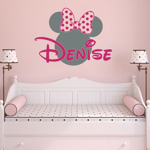 girl name wall decal minnie mouse vinyl decals sticker custom