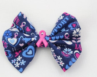 Breast Cancer Awareness Hair Bow - Small