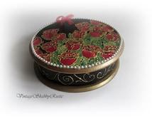 Keepsake Box. Hand-painted Wooden Box. Decorated Round Box. Jewelry Box.Storage Box. Chocolate Round Box. Red Roses. Sentimental Box.