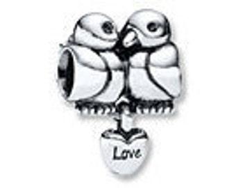 Authentic PANDORA Dangle Charm S925 ALE Lovebirds Sterling Silver #791033