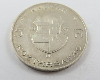Hungary 1947 Silver 5 Forint Coin.
