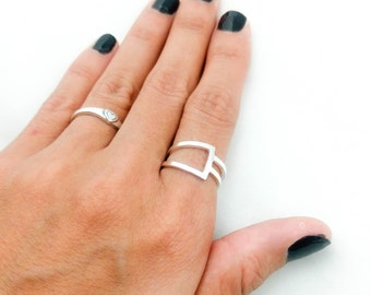 Dainty Silver Ring, Geometric Ring, Simple Ring, Handmade Jewelry