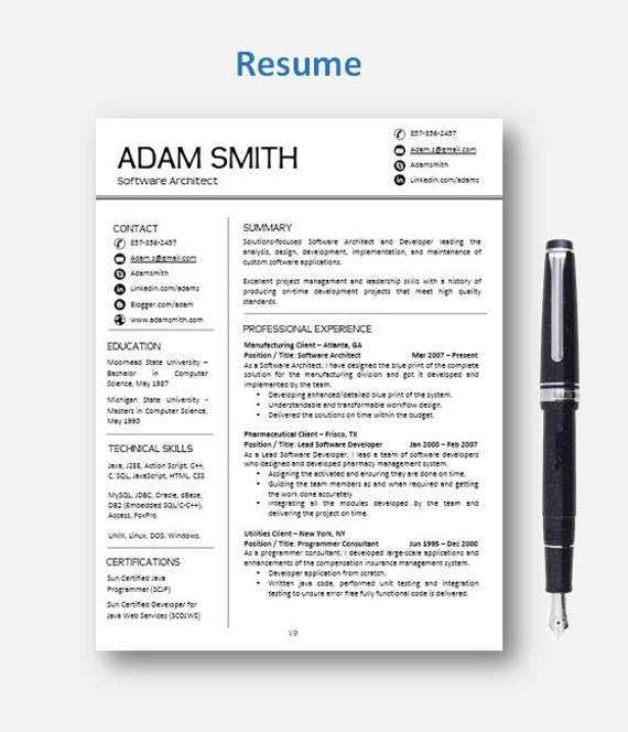 cv template resume template with add on for by resumeenhancer