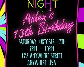 neon 13th birthday invitation glow party invitation any age 4x6 - 13th Birthday Party Invitations