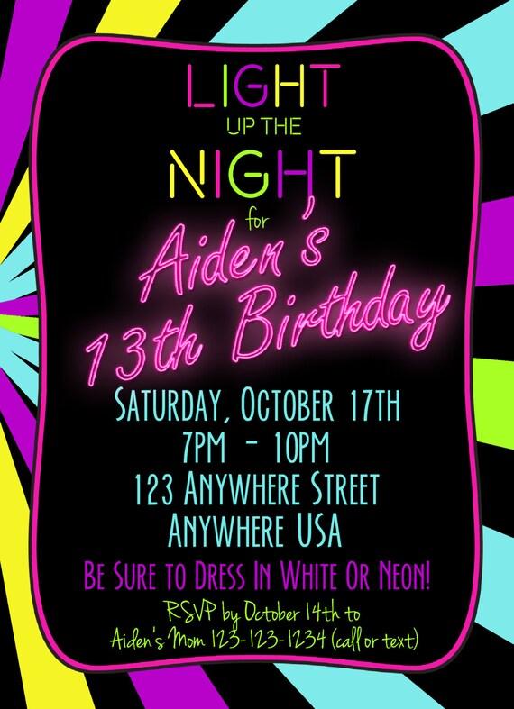 Neon 13th Birthday Invitation Glow Party Invitation Any