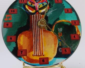 Cat Folk Art CD Wall Clock from Mixed Media painting Soul Music Cat