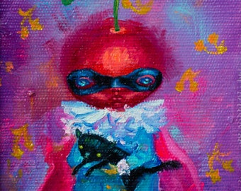 Original oil painting. Supercherry with a kitty.