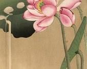 Japanese Fine Art Reproduction, Wall Art, Ukiyo-e Art Print, Home Decor, Japanese Painting, Room Decor, Bird Contemplating Lotus