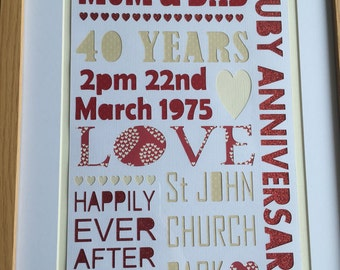 Wedding Day & Wedding Anniversary Framed Gifts and Keepsakes