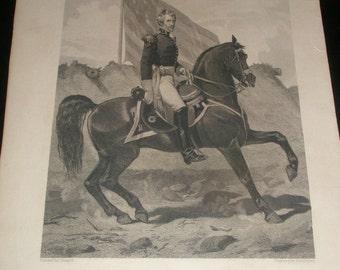 lot of 4 antique engravings etchings johnson fry & co. generals  w. scott,z.taylor,andrew jackson, w. bainbridge
