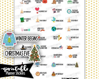 SALE! Holidays PRINTABLE Planner Stickers | Pdf, Jpg, Silhouette Studio V3 Format | ECLP Vertical Planner Stickers