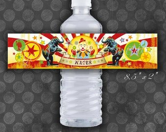 Circus Birthday Water Bottle Labels / Instant Download / Digital File