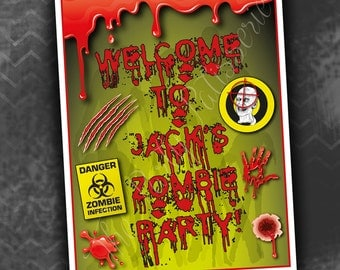 Zombie Birthday Party Welcome Sign