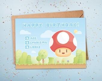 Gamer Birthday Card, Geeky Birthday Card, Nerdy Birthday Card, Level Up, 1 UP, Gamer Birthday Gift, For Husband, For Boyfriend, For Him