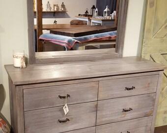 Pine Wood Dresser with Mirror