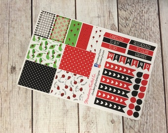 Ladybug Themed Planner Stickers - Made to fit Vertical Layout