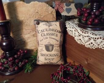 Pillow Tuck: Primitive Halloween Shocking Soup Pillow Tuck with Handmade Broom