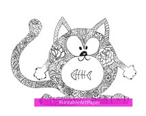 """Instant JPEG Download Coloring Page Hand Drawn  Inspired Psychedelic """"funny cat"""""""