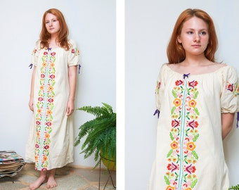 Vintage Bordados-Mary Vi/Embroidered Shift/Maxi Dress