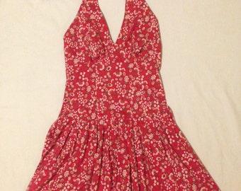 1970's Red Floral Summer Halter Dress