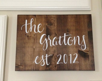 Custom Name Wood Sign - Hand Lettered - Personalized Wedding Gift