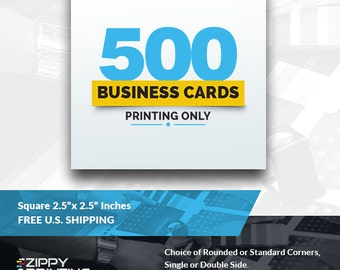 "500 Square Business Cards 2.5"" x 2.5"" Printing Rounded Corners, Matte or Glossy"