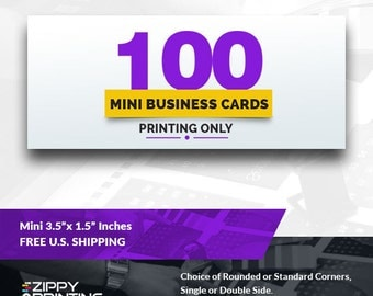 "100 Mini Business Cards 3.5"" x 1.5"" , Mini Business Cards Printing Rounded Corners, Matte or Glossy"