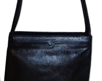 An Osprey black leather shoulder bag