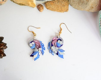 Indigo earrings - unique design gradient blue tail - magic earrings - polymer clay earrings