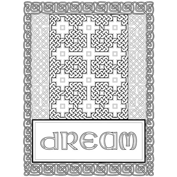 Adult coloring page of hand drawn celtic knots inspired by for Book of kells coloring pages