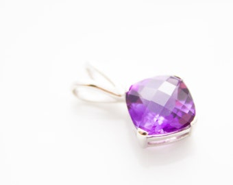 Purple Amethyst silver pendant, square pendant February birthstone, Amethyst necklace, sterling silver 925 amethyst pendant natural gemstone