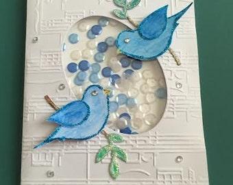 blue birds shaker card
