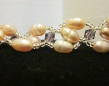 SALE! Lovely Pink Pearl Bracelet Intertwined with Crystals