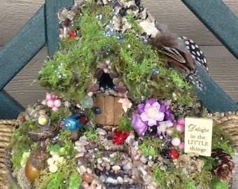 FAIRY COTTAGE - Fairy House - Fairy Habitat - Pixie- Woodland Cottage - Fairy Dwelling - Fantasy - Magical - Ladybug Lodge - Free S/H